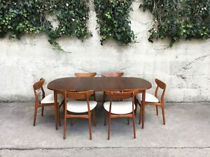 Mid Century Modern Danish Teak Dining Set 6 Chairs Table W 2 Leaves