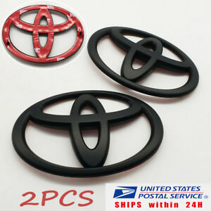 2pcs Matt Black Front And Rear Car Badge Emblem For Toyota 86 Gt86 Frs