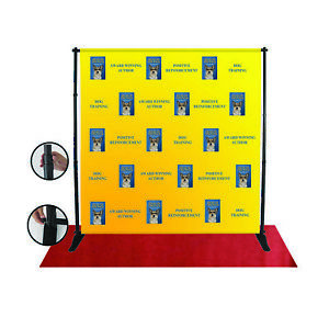 8x10 heavy duty Tube Step And Repeat Backdrop Telescopic Banner Stand Adjustable