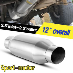 Straight Through High Performance 2 5 Inlet outlet Muffler Silencer 4 Round