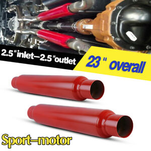 Pair 2 5 Inlet Outlet High Flow Performance Race Mufflers 3 5 Body Round S S