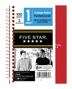 Five Star Wire Bound Notebook 7 In X 5 In Red Case Of 12