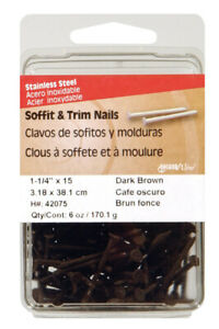 Hillman Soffit trim Nails 1 1 4 Stainless Steel 15 Ga Dark Bn Card 6oz pk 5