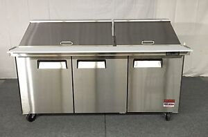 72 Sandwich Prep Table Unit 3 Door Mega Top Salad Prep 30 Pan 72 Cooler 6 New