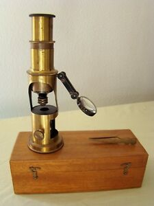 Antique Cased Brass Microscope With Bulls Eye Condenser