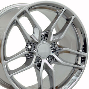 18x10 5 17x9 5 Wheels Fit Camaro Corvette C7 Stingray Chrome Rims 5633 W1x Set