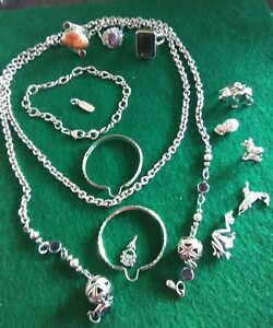 Mixed Sterling Silver Lot Scrap Or Wear Jewelry About 92 Grams