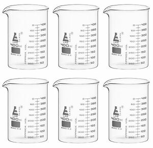6 Pack 400ml Low Form Beaker Astm Borosilicate Glass Eisco Labs