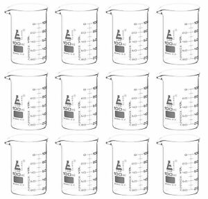 12 Pack 100ml Low Form Beaker Astm Borosilicate Glass Eisco Labs