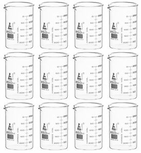 250ml Beakers 12 Pack Astm Low Form Eisco Labs Borosilicate Glass
