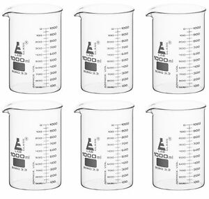 1000ml Beakers 6 Pack Astm Low Form Eisco Labs Borosilicate Glass