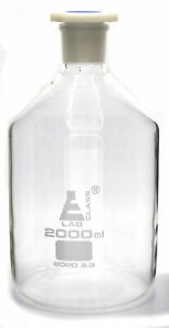 2000ml 67 6oz Glass Reagent Bottle With Acid Proof Polypropylene Stopper