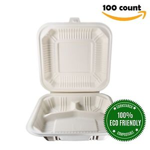 Helogreen Eco friendly Compostable Takeout To go Food Containers Hinged