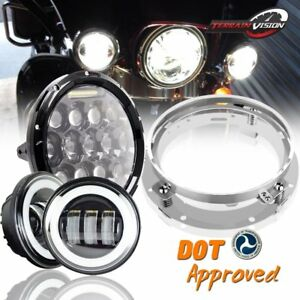7 Led Headlight Passing Lamps Fit Harley Davidson Touring Road King
