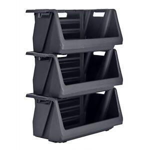 New Muscle Rack Stackable Storage Bin In Black 3 Pk No Tax Free Shipping