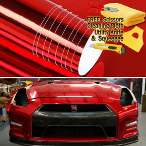 36 X 60 Red Chrome Mirror Vinyl Film Wrap Sticker Decal Stretchable 3ft X 5ft