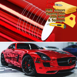 24 X 60 Red Chrome Mirror Vinyl Film Wrap Sticker Decal Stretchable 2ft X 5ft