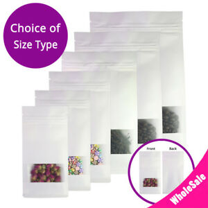 Assorted Size White Kraft Paper Stand Up Zip Lock Gusset Side Bag W Window M18