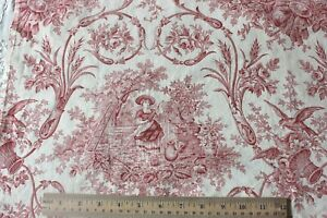 Antique Country French Red White Printed Cotton Toile Fabric C1880 41 L X 31 W