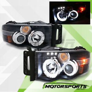 led Halo 2002 2003 2004 2005 Dodge Ram Black Led Drl Projector Headlights Pair