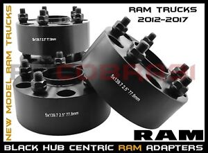 Complete Set Of 2012 2017 Ram 1500 2 5 Black Hub Centric Wheel Spacers Adapters