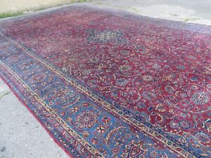 10 X 17 Palace Size Antique Hand Made Persian Manchester Kashan Wool Rug Nice
