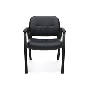 Leather Office Chair Executive Computer Desk Black Four Legged Conference Room