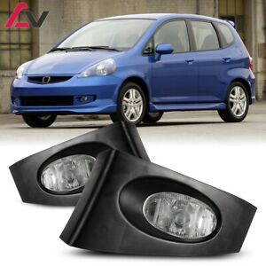 For Honda Fit 06 08 Clear Lens Pair Bumper Fog Light Lamp Wiring Switch Kit Dot