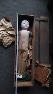 Old Era Antique Large Japanese Ichimatsu Doll 32 With Wooden Box And Stand