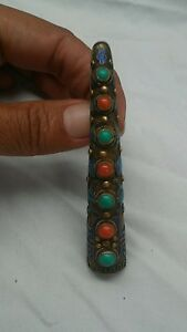 Antique Vtg Chinese Silver Vermeil Enamel Turquoise Coral Finger Nail Pin