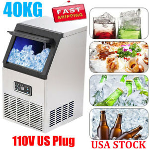 88lbs Auto Commercial Ice Cube Maker Machines Stainless Steel Bar 110v 200w Usa
