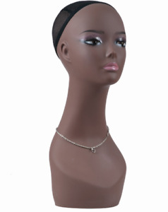Realistic Female Mannequin Head Black Skin For Wig Hat Earring Necklace Display