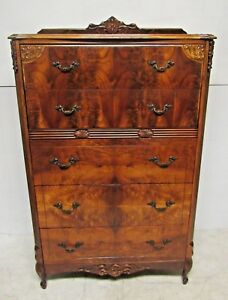 Beautiful Vintage Neo Classical Highboy Burl Wood Dresser