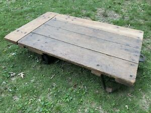 Vintage Industrial Factory Warehouse Cart Coffee Table