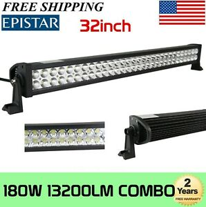 7d 32inch 405w Tri Row Led Work Light Bar Offroad Combo Driving Boat 4x4wd Slim