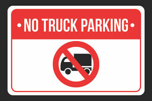 No Truck Print Red White And Black Notice Metal Sign 4 Pack Of Signs