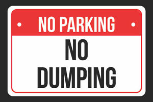 No No Dumping Print Red White And Black Plastic Sign 4 Pack Of Signs 12x18