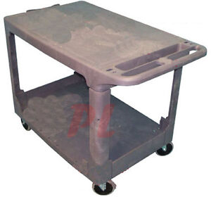 Plastic 2 Shelves Trays Flat Service Cart 500lbs Capacity free Shipping