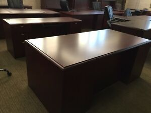 6 Executive Desk Credenza Set By Paoli Office Furniture In Mahogany Finish