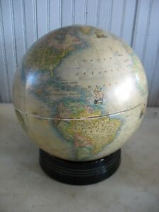 Vtg Art Deco Rand Mcnally Indexed Terrestrial 12 Globe On Black Glass Base