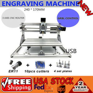 Mini 3 Axis Cnc2417 Router Engraver Usb Desktop Diy Milling Drill Carve Machine