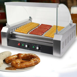 Kitchen Tool 30 Hot Dog 11 Roller Grill Stainless Steel Cooker Machine W Cover