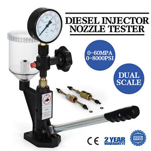 Diesel Injector Nozzle Tester Pop Pressure Tester Dual Scale 400 6000 Psi Bar