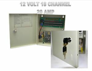 Power Supply Lock Box 18 Channel 20 Amp Cctv Security 12 Volt Resettable