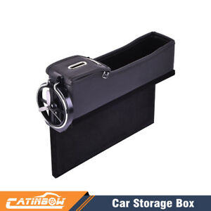 Pu Car Seat Catcher Gap Filler Storage Box Coin Collector Cup Holder Driver Side