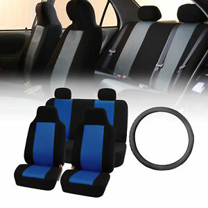 Classic Cloth Highback Car Seat Covers Set With Steering Wheel Cover Blue