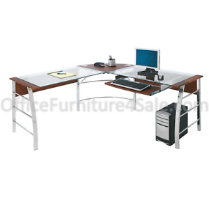 Realspace Mezza l shaped Glass Computer Desk Cherry chrome 620475