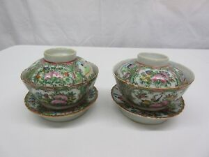 Antique Chinese Rose Medallion Porcelain Rice Soup Bowls With Lids And Stands