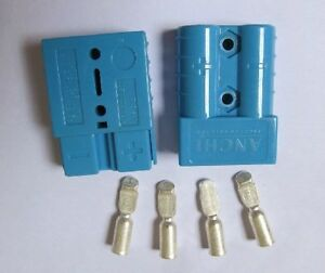 10pc Blue Battery Quick Connector Kit 50a 6awg Plug Connect Disconnect Winch
