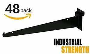 New 12 Slatwall Knife Shelf Brackets With Lip Black 48pk
